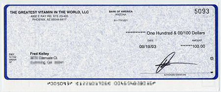 My first check for The Greatest Vitamin In The World