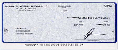 More $100 Checks for selling The Greatest Vitamin In The World